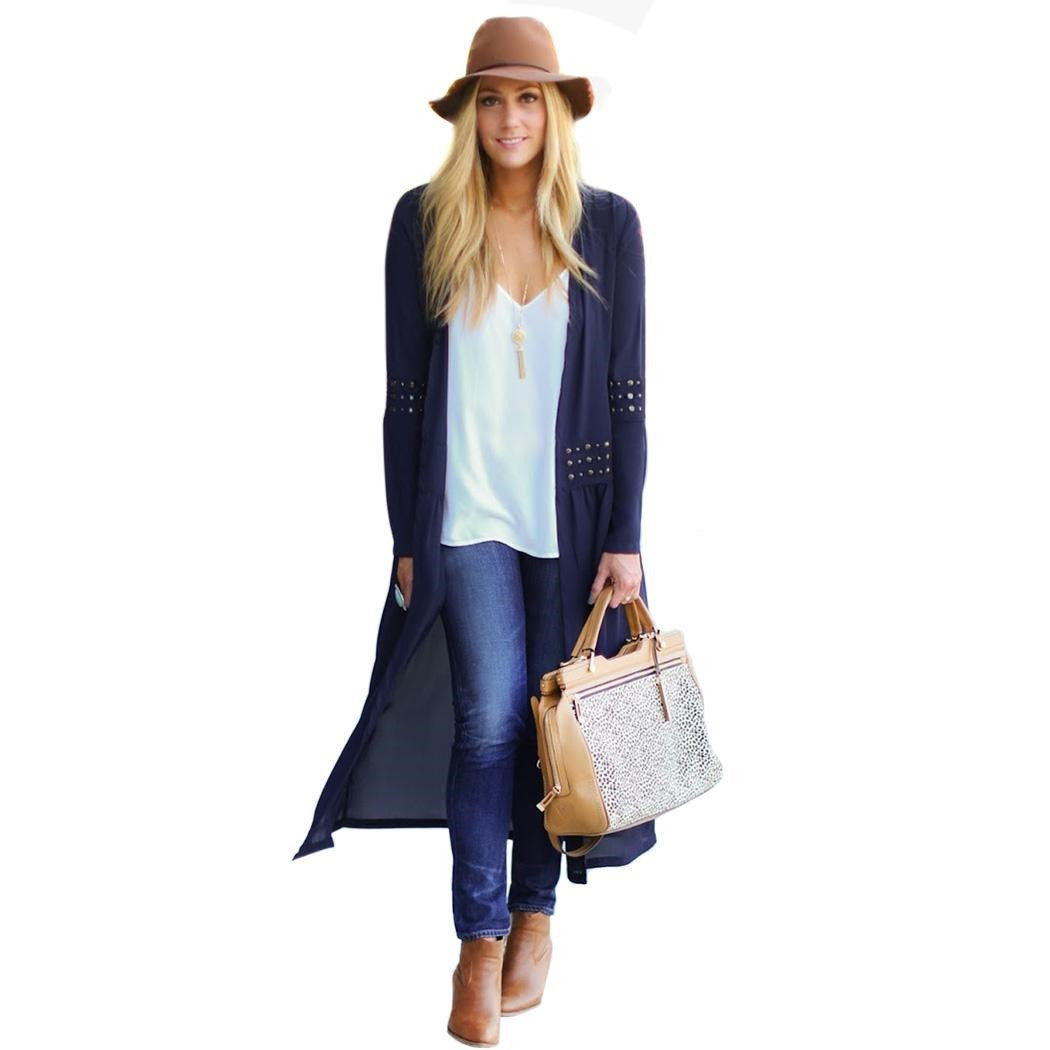 Trendy Chiffon Coats Womens Trench Coat Long Outerwear