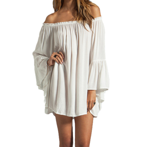 New European Style Chiffon Off The Shoulder Sexy Mini Dress