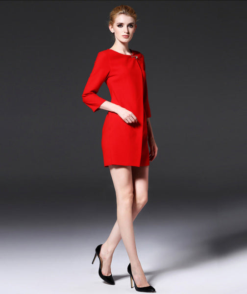 New Her Mod Fashion Women 3/4 Sleeve Brooch Red Mini Dress