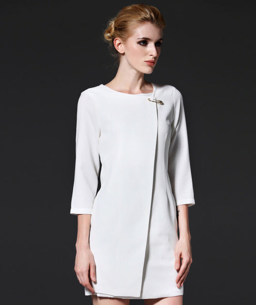 New Her Mod Fashion Women 3/4 Sleeve Brooch White Mini Dress