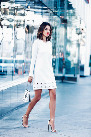 New Her Trendy Fashion Women Long Sleeve Ring Hole White Mini Dress
