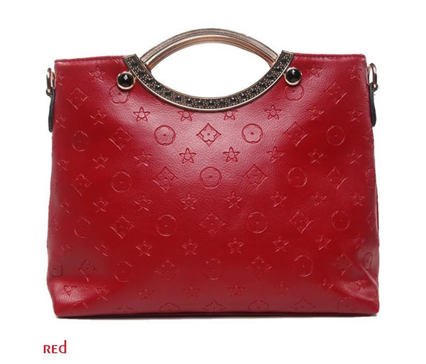New Women's Fashion Soft Embossed PU Leather Big Bag Handbag