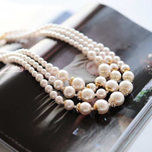"""Elegant Series""  Noble Pearl Layered Necklace"