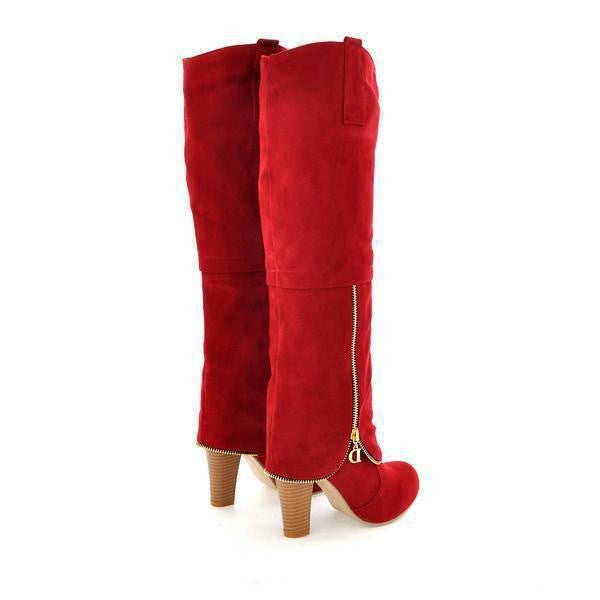 Nubuck Knee High Zipper Long Boots
