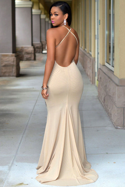 Nude Jeweled Front Slit Luxury Two Piece Set
