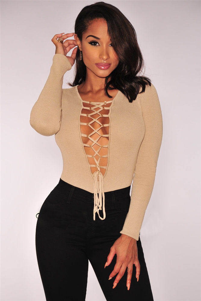 Nude Ribbed Knit Lace Up V Neckline With Adjustable Strings Lingerie