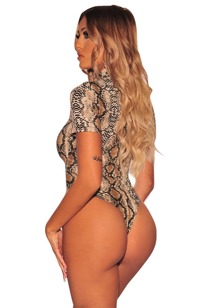 Nude Snake Print Her Fashion Mock Neck Short Sleeves Bodysuit