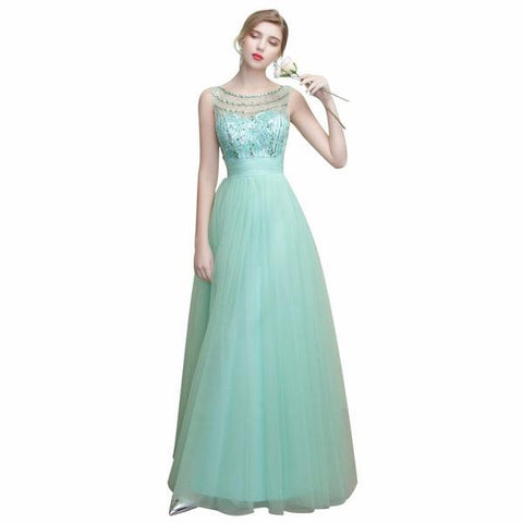 O-Neck Collar Backless Crystal Beading Gown Tulle Prom Evening Dress