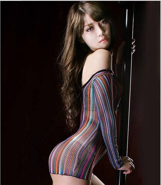 O-Neck Tight Costume Sexy Hollow Out Mesh Transparent Colorful Nets Lingrie  Pajamas