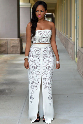 White Jeweled Front Slit Luxury Two Piece Set