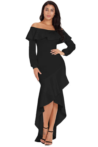 Off Shoulder Black Lopsided Ruffle Hem Her Chic Evening Dress