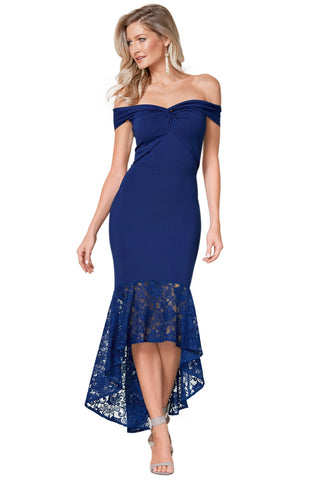 Off Shoulder Blue Twist Design Her Fashion Bodycon Mermaid Dress