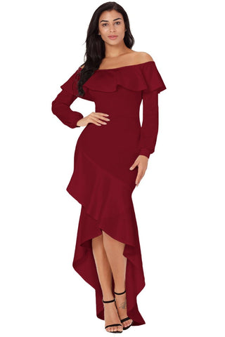 Off Shoulder Burgundy Lopsided Ruffle Hem Her Chic Evening Dress