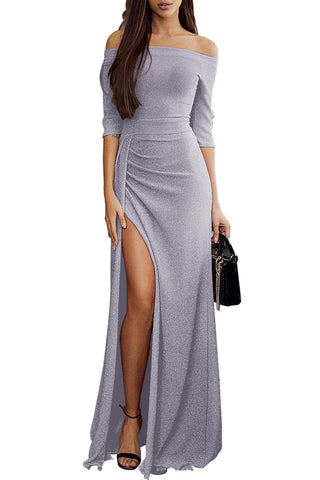 Off Shoulder Grey Metallic Glitter Maxi Her Fashion Party Dress