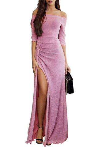 Off Shoulder Hot Pink Metallic Glitter Maxi Her Fashion Party Dress