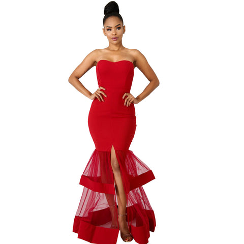 Off Shoulder Long Maxi Mesh Split Her Fashion Red Party Dress