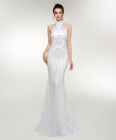 Off Shoulder Luxury Gown Crystal High Neck Mermaid Evening Dress