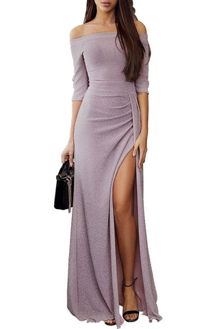 Off Shoulder Mauve Metallic Glitter Maxi Her Fashion Party Dress