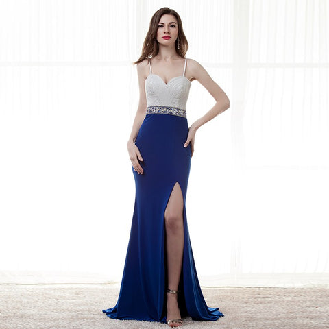Off Shoulder Split, Mermaid Long Gown Elegant Royal Blue Beaded Dress