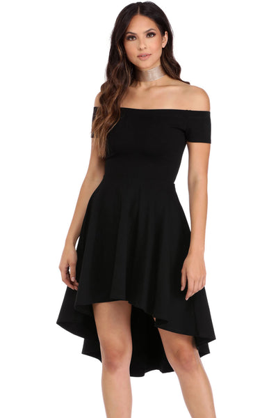 b1996bbd9b Off The Shoulder Gorgeous Black Elegant Slim Fitting Skater Dress –  HisandHerFashion.com