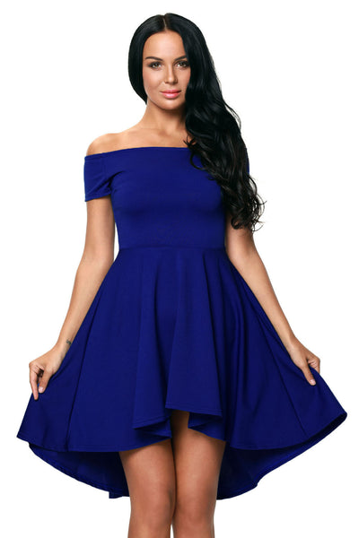 Off The Shoulder Gorgeous Burgundy Elegant Slim Fitting Skater Dress