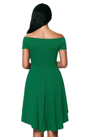 Off The Shoulder Gorgeous Green Elegant Slim Fitting Skater Dress