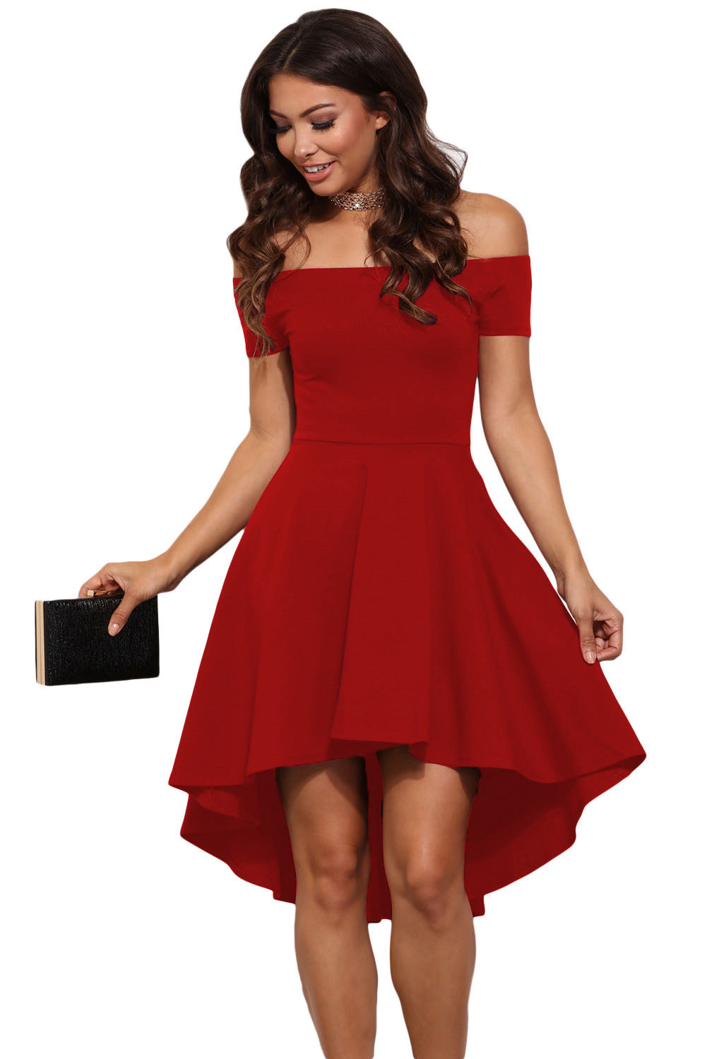 Off The Shoulder Gorgeous Red Elegant Slim Fitting Skater Dress