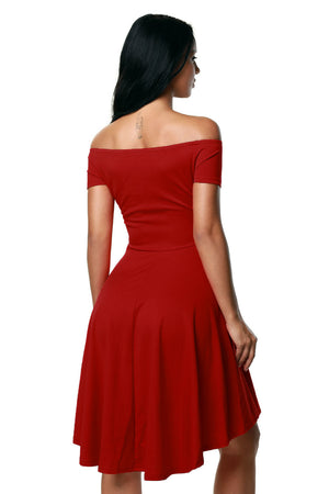 Off The Shoulder Gorgeous Rosy Elegant Slim Fitting Skater Dress