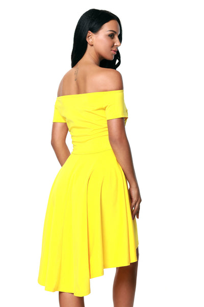 Off The Shoulder Gorgeous Yellow Elegant Slim Fitting Skater Dress