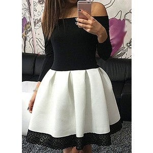 Off Shoulder Gorgeous Long Sleeve Flared Contrast Skater Dress