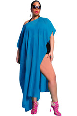 Off The Shoulder Blue Draped Plus Size Cover-up