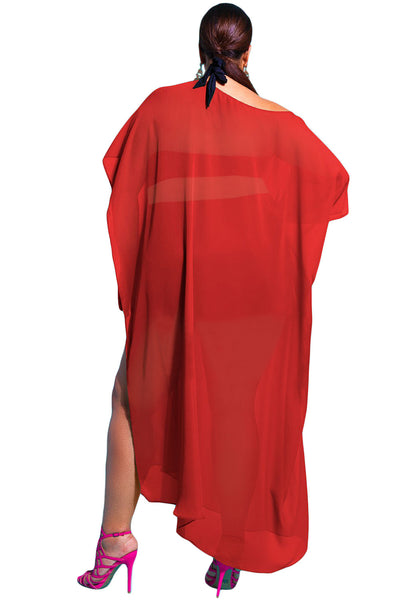 Off The Shoulder Red Draped Plus Size Cover-up