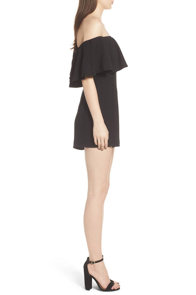 Off the Shoulder Ruffle Her Fashion Black Strapless Flounce Romper