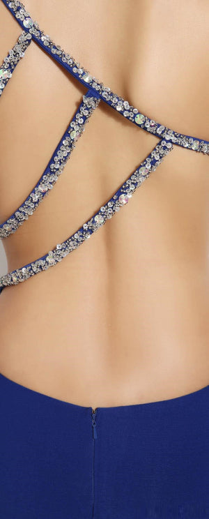 One Shoulder Beads Crystals Split Backless Prom Dresses  Evening Pageant Party G