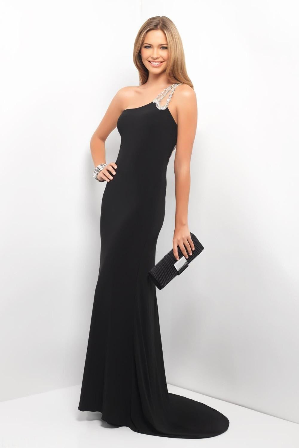 Black Mermaid With Simple Floor-Length Court Train Prom Dress