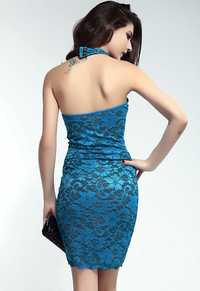 Open Back  Mock Neck Mini Blue Dress