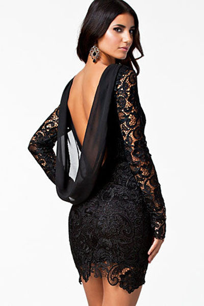 Open Back Trendy Vintage Black Crochet Design Dress
