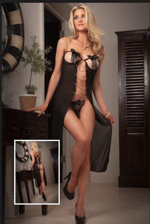Open Cups Sheer Long Black Lingerie Dress HerLingerie