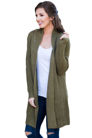 Open Front Her Fashion Army Green Women Cardigan with Pockets