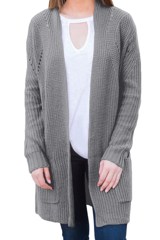 Open Front Her Fashion Grey Women Cardigan with Pockets