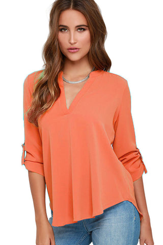 Orange V-sionary Trendy Women V Neck Chiffon Blouse Top