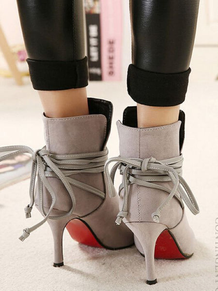 Outlet Belt High Heel Short Womens Boots