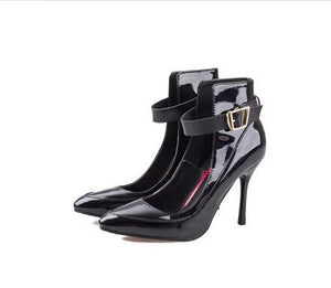 Pointed Temprament With Bowknot Buckles Trendy High-Heeled Shoes Trendy Series