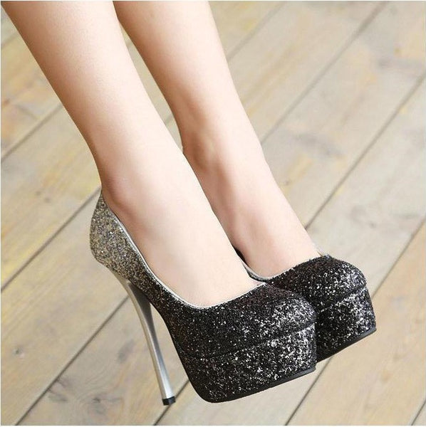 Paillette Pumps Sexy High Heels Platform Womens Shoes