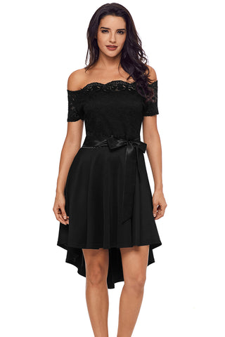 Party Black Lace Off Shoulder Dip Hem Her Fashion Prom Dress