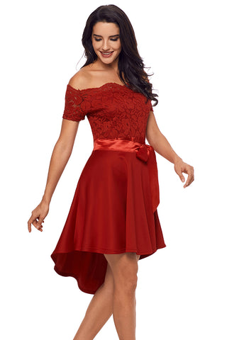 Party Red Lace Off Shoulder Dip Hem Her Fashion Prom Dress
