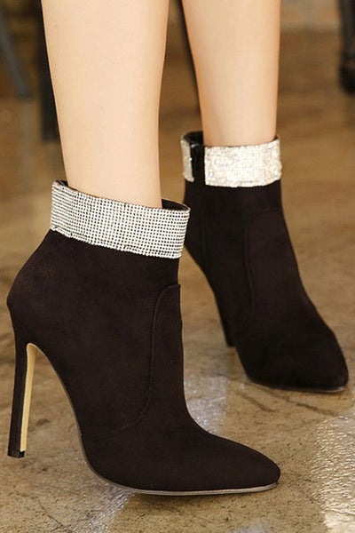Party Rhinestone and Pointed Toe Design Women's Ankle Boots