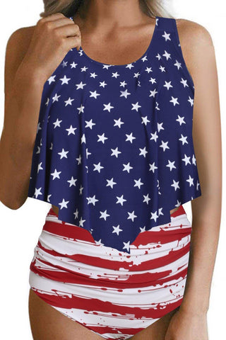 Patriotic Print Cute Swimsuit Crop Ruffled Overlay High Waist Tankini