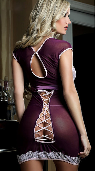 Peek-a-Boo Purple Seductive Beauty Chemise Lingerie