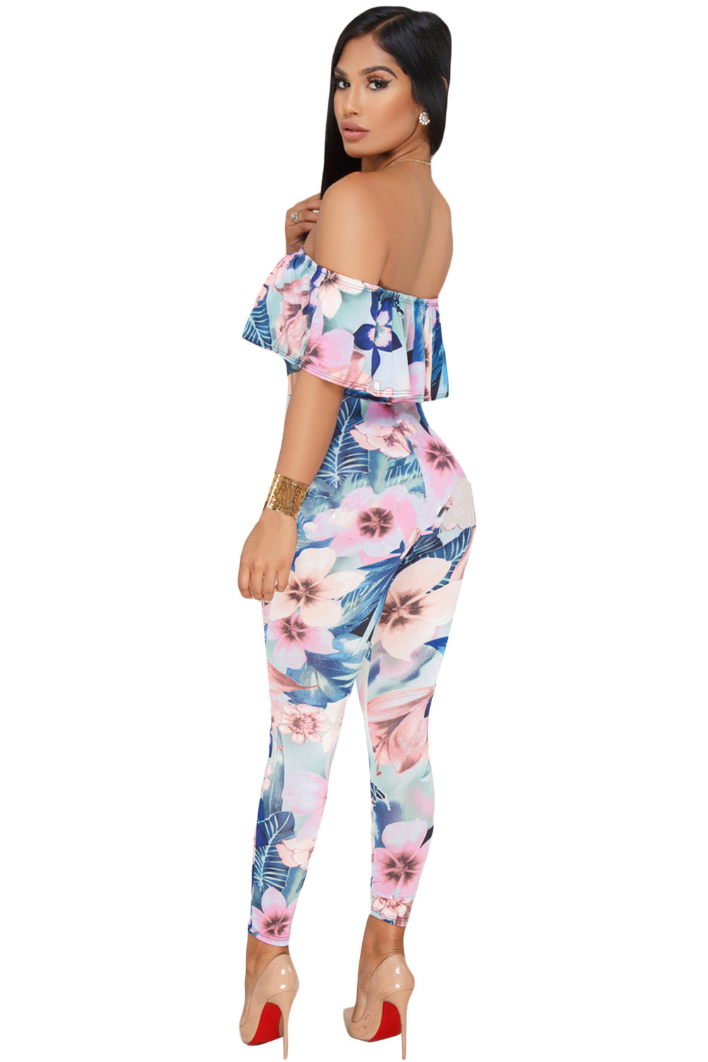 Pink Blue Floral Tropical Print HerFashion Ruffle OffShoulder Jumpsuit